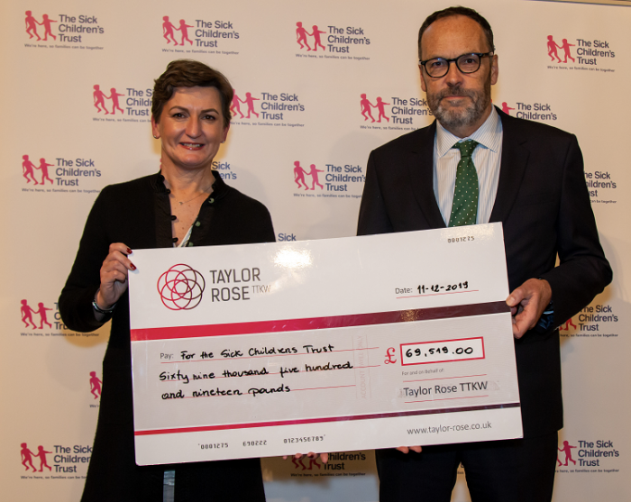 Taylor Rose TTKW makes donation to charity partner: The Sick Children's Trust