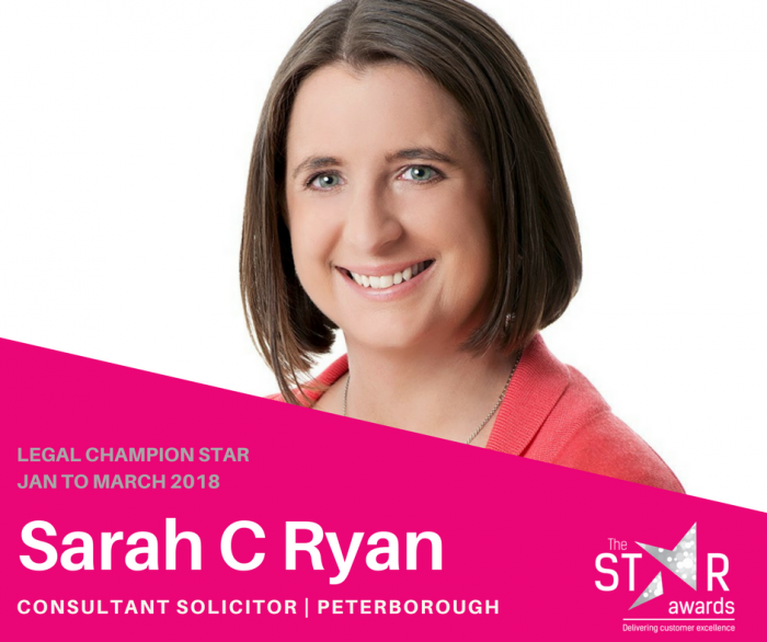 Introducing our Legal Champion Star - SARAH RYAN, CONSULTANT SOLICITOR