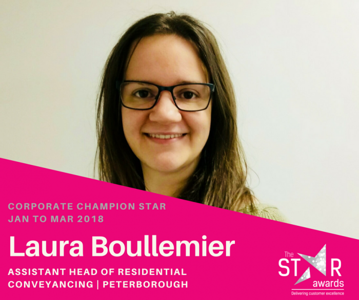 Introducing our Corporate Champion Star - LAURA BOULLEMIER, ASSISTANT HEAD OF RESIDENTIAL CONVEYANCING