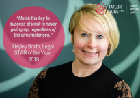 Hayley Smith, Taylor Rose TTKW's Legal Star of the Year, shares her Award Story