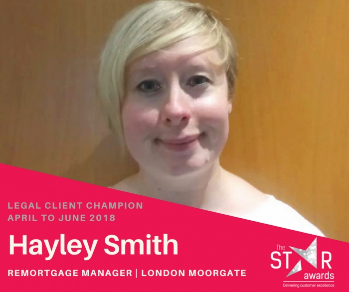 Quarter Two - Legal Client Experience Star - Hayley Smith, Remortgage Manager
