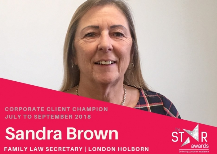 Quarter Three - Corporate Client Experience Star - Sandra Brown, Legal Secretary