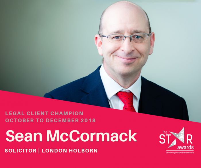 Sean McCormack star is recognised in Taylor Rose TTKW Legal Client Excellence Awards